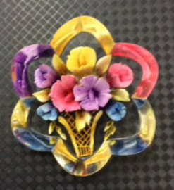 Reverse Carved Lucite 1940's/1950's Era 'Vase of Flowers' Brooch -Beautiful Bright Colours (sold)